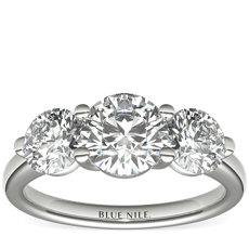 Three-Stone Petite Trellis Diamond Engagement Ring in 14k White Gold